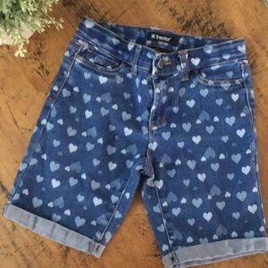 Tractor denim with hearts Bermuda shorts